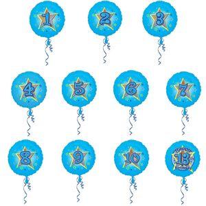 Amscan 18 tommers Glitter Delgada sirkulær folie bursdag alder ballong Blå 6