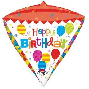 Amscan Gratulerer med dagen Supershape Diamondz geometriske ballong Flerfarget One Size