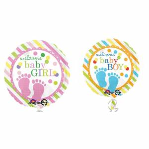 Amscan Velkommen Baby jente/gutt rundt folie ballong Hvit/oransje One Size