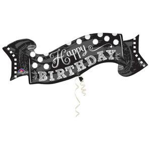 Amscan Supershape Happy Birthday Polka Dot Banner ballong Svart One Size
