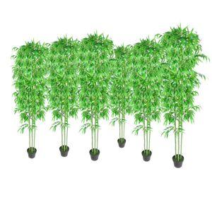 vidaXL Kunstige bambusplanter dekorasjonsett 6 stk