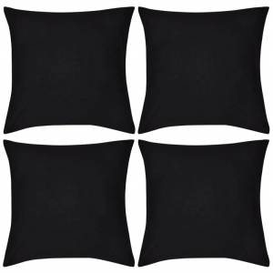 vidaXL 4 Svarte putetrekk, bomull 50 x 50 cm