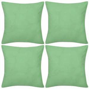 vidaXL 4 Eplegrønne putetrekk, bomull 40 x 40 cm