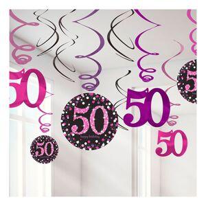 Amscan Swirls 50 Rosa Hängande Dekoration - 12-pack