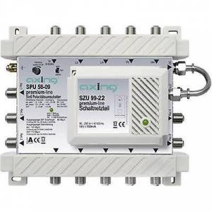 Axing SATT multiswitch Axing SPU 56-09 innganger (multiswitches): 5 (4 SAT/1 terrestrial) nr. deltakere: 6 ventemodus, Quad LNB kompatibel