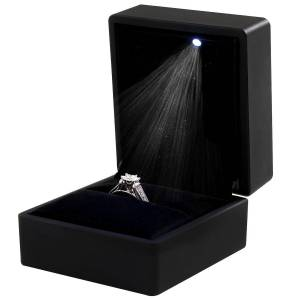 TRIXES ring Box-svart LED firkantet smykke kasse for Forlovelses ri...