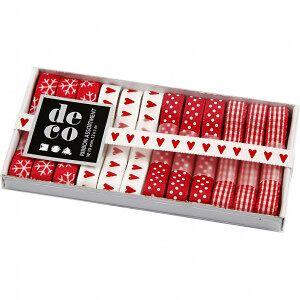 Diverse Dekorationsband, B: 10 mm, 12x1 m, röd/vit harmoni