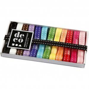 Diverse Dekorationsband, B: 10 mm, 12x1 m, mixade färger