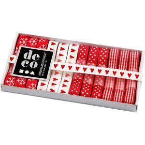 Creativ Company Dekorationsband, B: 10 mm, 12x1 m, röd/vit harmoni