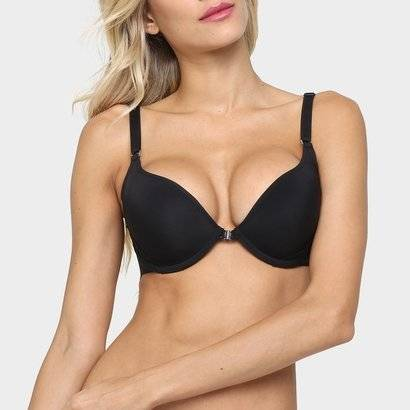 Sutiã Liz Push Up Costas 3S - Feminino-Preto