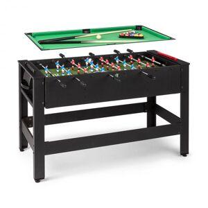 KLARFIT Spin 2-i-1 spelbord biljard fotboll 180° vridbar speltillbehör svart