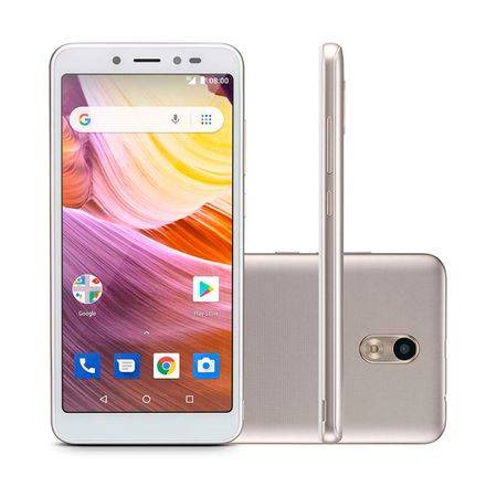 "Multilaser Celular Multilaser MS50G 3G 5,5"" RAM 1GB Câmera 8MP+5MP Android 8.1 Bluetooth 8GB Branco/Dourado Branco-Dourado"