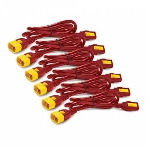APC POWER CORD KIT (6 EA), LOCKING, C13 TO C14, 0.6M, RED