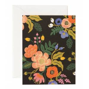 Rifle Paper Co Vintage lively floral black card, rifle paper co