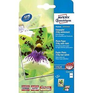 Avery Zweckform Avery-Zweckform Premium Fotopapir Blekkskriver C2552-50 Fotopapir 10 x 15 cm 250 g/m² 50 ark Halvglanset