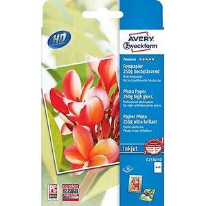 Avery Zweckform Avery-Zweckform Premium fotopapir Inkjet C2550-50 fotopapir 10 x 15 cm 250 GM ² 50 ark med høy glans