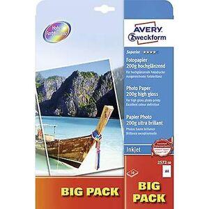 Avery Zweckform Avery-Zweckform Superior Fotopapir Blekkskriver STOR PAKKE 2572-50 Fotopapir A4 200 g/m² 50 ark Høy glans