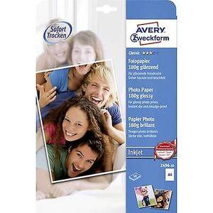 Avery Zweckform Avery-Zweckform klassisk fotopapir Inkjet 2496-50 fotopapir a4 180 GM ² 50 ark glanset