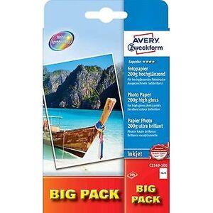 Avery Zweckform Avery-Zweckform overlegen fotopapir Inkjet BIG PACK C2549-100 fotopapir 10 x 15 cm 200 GM ² 100 ark med høy glans