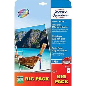 Avery Zweckform Avery-Zweckform overlegen fotopapir Inkjet BIG PACK 2572-50 fotopapir a4 200 GM ² 50 ark høy glans