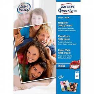 Avery Zweckform Avery-Zweckform Klassisk Fotopapir Blekkskriver 2496 Fotopapir A4 180 g/m² 100 ark Glanset