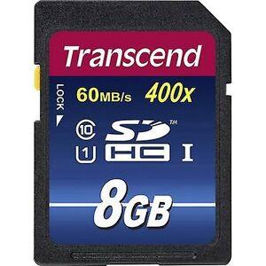 Transcend Overskride Premium 400 SDHC card 8 GB klasse 10, UHS-jeg