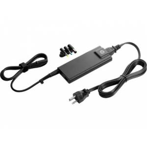 HP 90W Slim Nätadapter, kompakt, 3 tips, USB-laddning, svart