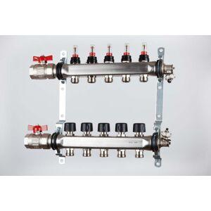 Rustfri rørfordeler   2-12 kurser komplett med «flowmeter» 4 kurser