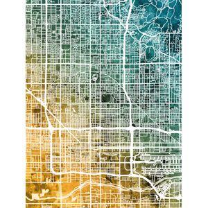 Phoenix Arizona City Map Fototapeter & Tapeter 100 x 100 cm