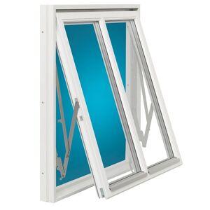 Vridfönster med mittpost Energi Trä 14, 15, Frostat antifogglas 0,9