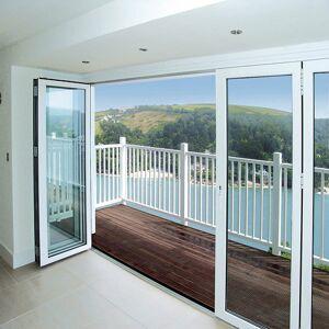 Vikvägg för fasad från Solarlux Vikvägg SL67 i aluminium Vit, Genomgående låsbart handtag, Utåt