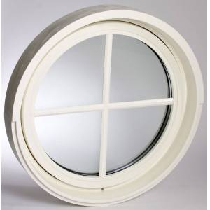Dala Dörren Fönster runt diam 580mm inåt vit 3-glas (6x0)