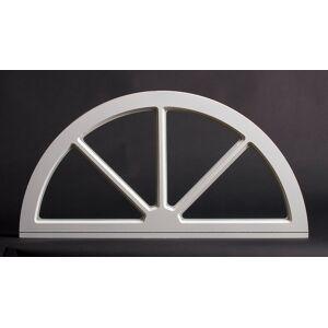 Dala Dörren Dekorfönster Halvmåne utvändigt 990x495mm vit enkelglas, spröjs