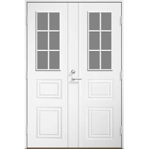 Dala Dörren Ytterdörr Monica 1590x1990mm höger gångdörr klarglas vit  par spårfräst ab6324 (16x20)