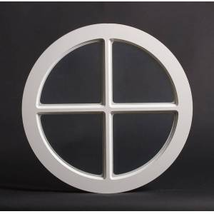 Dala Dörren Dekorfönster Rund spröjs utvändigt  390mm vit enkelglas (4x0)
