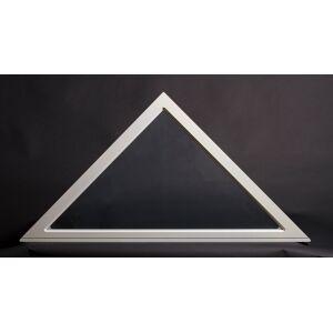 Dala Dörren Dekorfönster Trekant utvändigt  1490x560mm, 37grader vit enkelglas