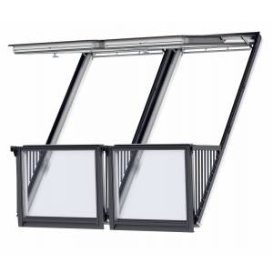Velux Cabrio Duo 100mm 94x252 vitmålat solo2 3-glas isoler -66 profilerade tak
