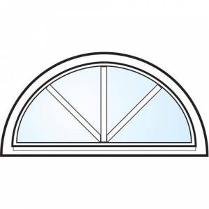 Dörrtema Fönster 3-glas energi argon halvmåne med spröjs vitmålat aluminium Modul 9x4,5