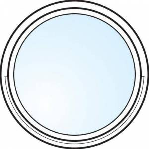 Dörrtema Fönster 3-glas energi argon rund vitmålat öppningsbart Modul diameter 6
