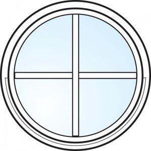 Dörrtema Fönster 3-glas energi argon rund vitmålat med spröjs Modul diameter 8