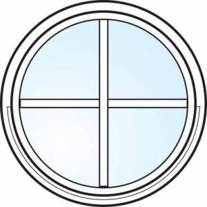 Dörrtema Fönster 3-glas energi argon rund vitmålat med spröjs Modul diameter 4