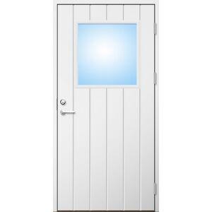 Dörrtema Förrådsdörr 18 graders HDF bred stående spårning med glas Modul 11x24