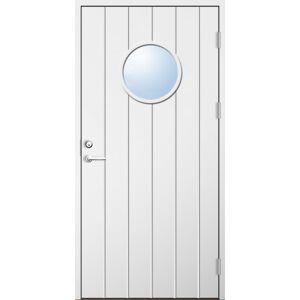 Dörrtema Förrådsdörr 18 graders HDF bred stående spårning med runt glas Modul 8x20