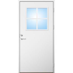 Dörrtema Förrådsdörr 18 graders HDF slät med glas och spröjs Modul 9x20