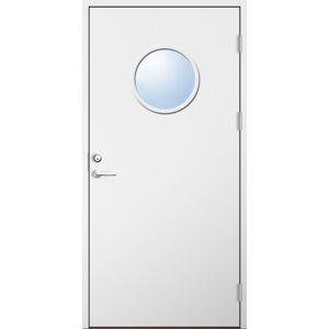 Dörrtema Förrådsdörr 18 graders HDF slät med runt glas Modul 10x20