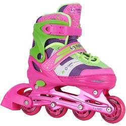 Spin Roller Patins Spin Roller Start New - In Line - Fitness - ABEC 7 - Ajustável - Adulto - VERDE CLA/ROSA