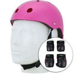 Atrio Kit de Proteção Atrio com 1 Par de: Joelheiras + Cotoveleiras + 1 Capacete - Infantil - ROSA