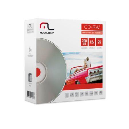 Multilaser Mídia CD-RW Vel. 12X - 25 Un. Envelope Impresso Em Caixa Multilaser CD053 CD053