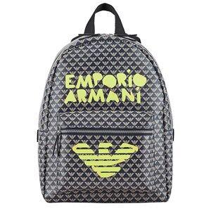 Giorgio Armani Emporio Armani Brown and Fluoro All Over Eagle Backpack Backpacks
