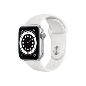 Apple Watch Series 6 (GPS) 40mm hopeanvärinen alumiinikuori / valkoinen urheiluranneke MG283KS/A